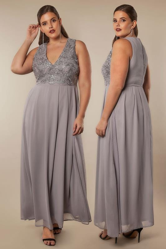 Plus Size Maxi Dresses AX PARIS CURVE Grey Sequin Maxi Dress