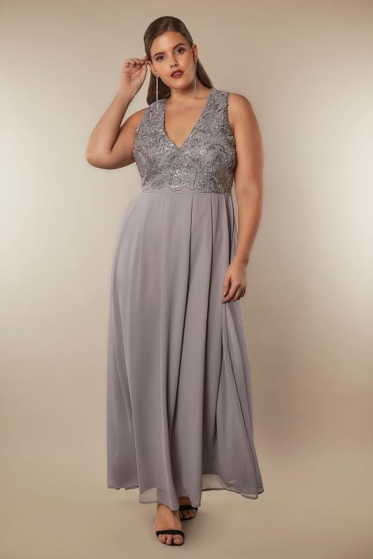 Ax Paris Curve Grau Pailletten Maxi Kleid In Gro 223 En
