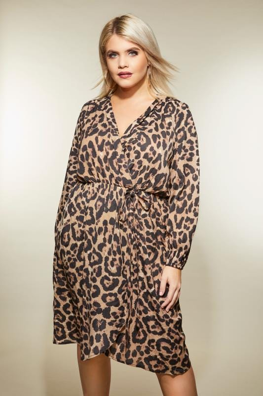 Plus Size Sleeved Dresses AX PARIS CURVE Leopard Print Wrap Dress