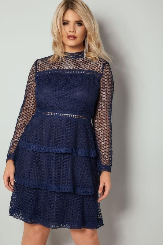 Ax Paris Curve Navy Crochet Dress With Tiered Frill Skirt Plus Size