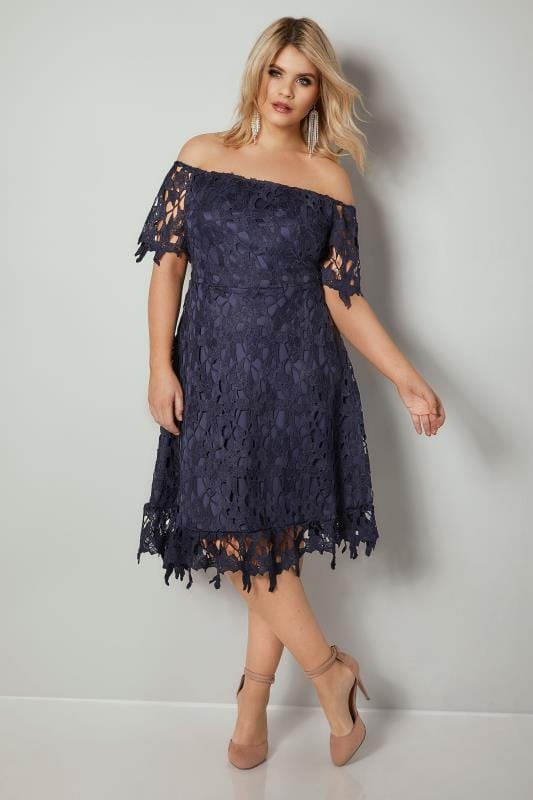 AX PARIS CURVE Navy Crochet Overlay Bardot Dress