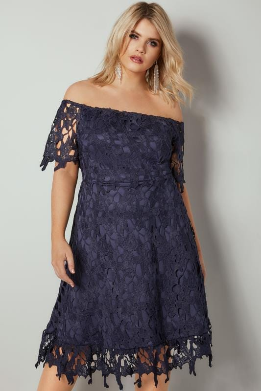 Plus Size Party Dresses AX PARIS CURVE Navy Crochet Overlay Bardot Dress