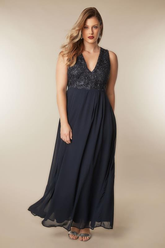 Ax Paris Curve Navy Maxi Dress With Lace Overlay Bodice -3606