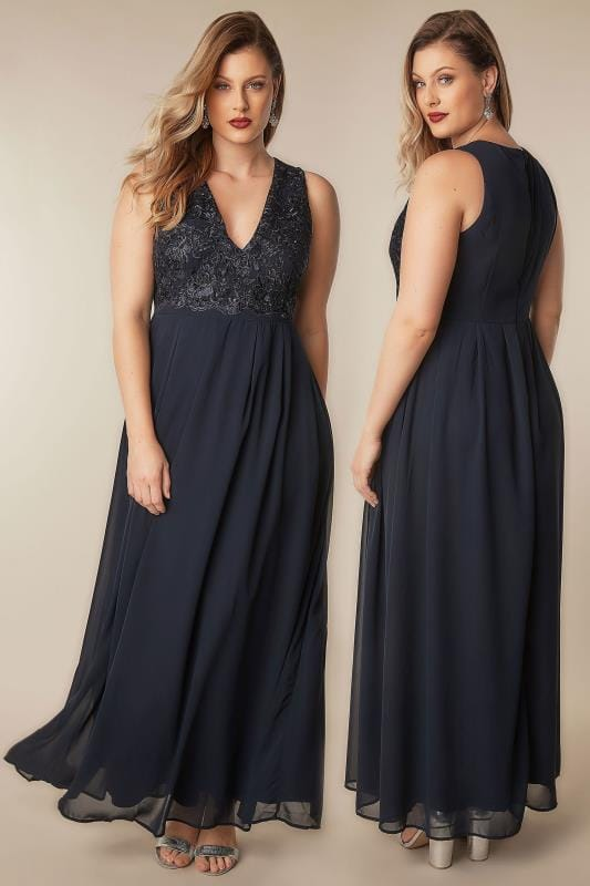 Ax Paris Curve Navy Maxi Dress With Lace Overlay Bodice Plus Size