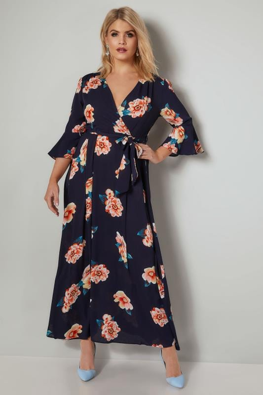 Plus Size Maxi Dresses AX PARIS CURVE Navy & Multi Floral Maxi Wrap Dress