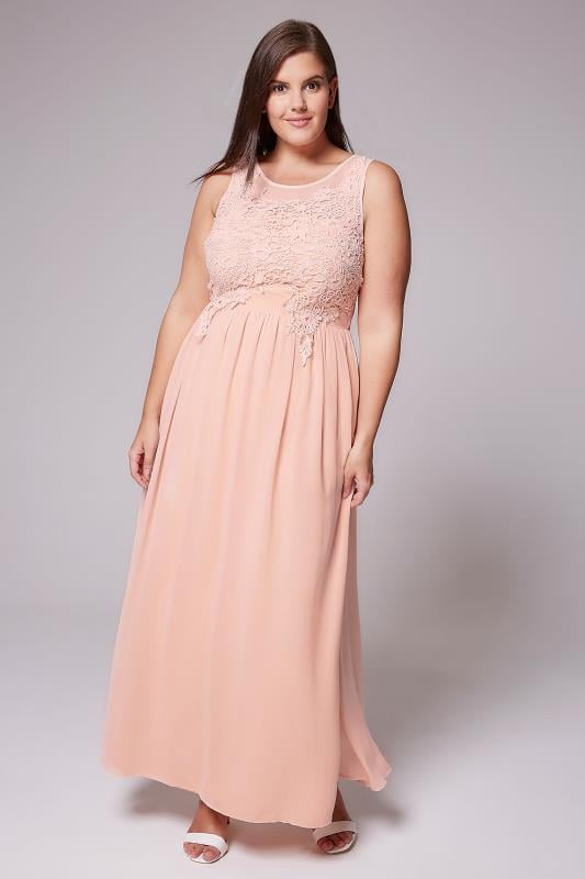AX PARIS CURVE Pink Maxi Dress With Mesh Neckline & Crochet Detail
