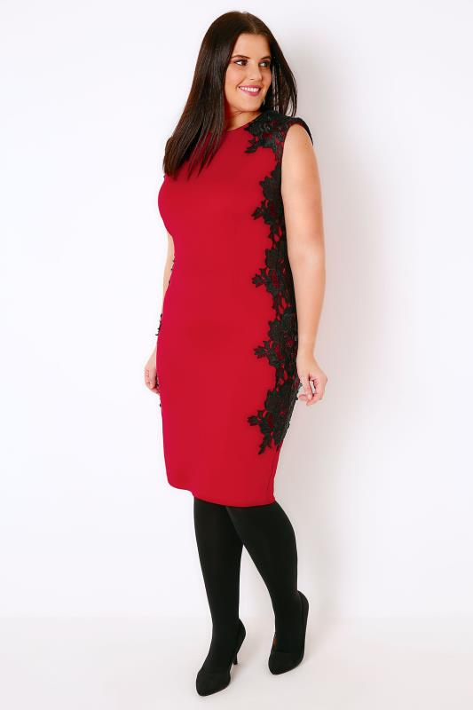 AX PARIS CURVE Red & Black Scuba Midi Dress With Lace Detail