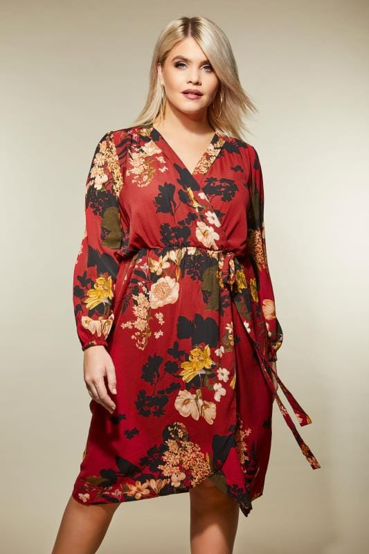 Plus Size Sleeved Dresses AX PARIS CURVE Red Floral Wrap Dress