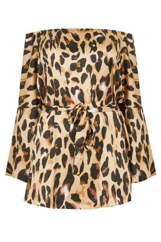 Plus Size Party Tops AX PARIS CURVE Satin Leopard Print Bardot Top
