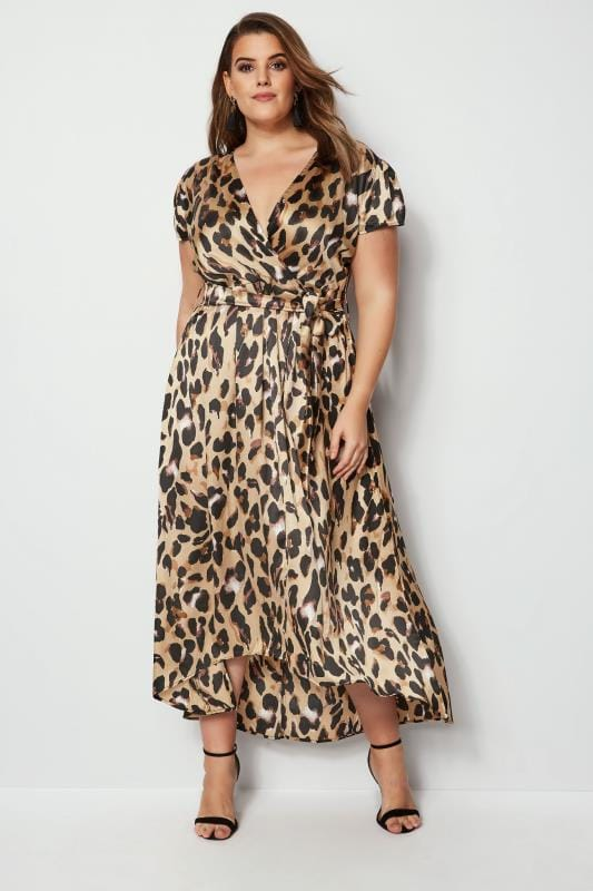 Plus Size Party Dresses AX PARIS CURVE Satin Leopard Print Wrap Dress