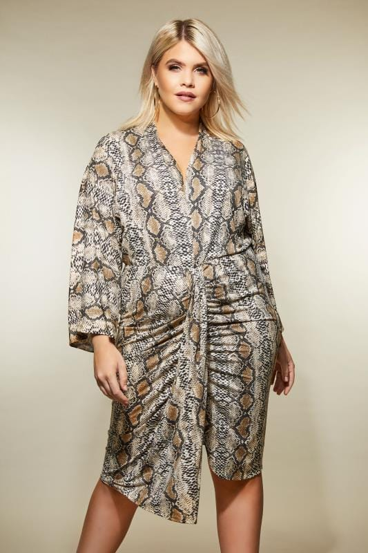 Ax Paris Curve Snake Print Dress Plus Size 16 To 26
