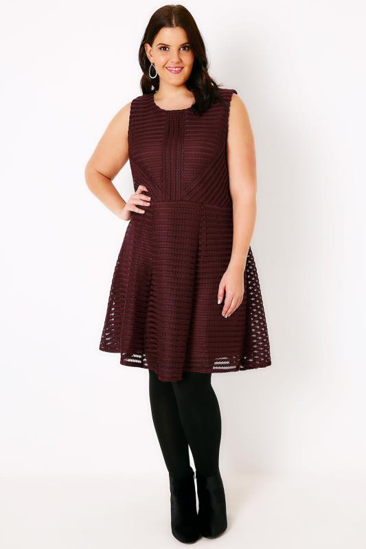 AX PARIS CURVE Wine Ladder Fabric Skater Dress