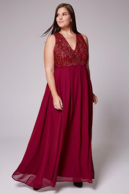 AX PARIS CURVE Wine Maxi Dress With Lace Overlay Bodice