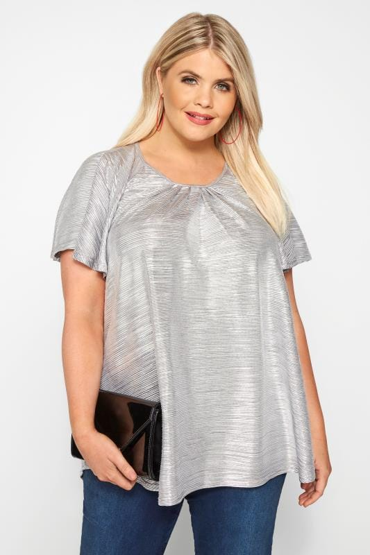 Plus Size Day Tops SIZE UP Silver Metallic Plisse Top