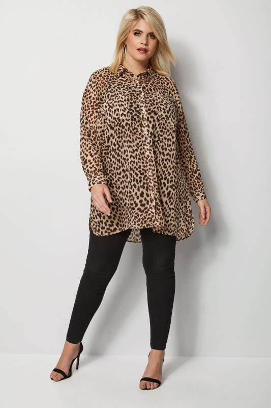 Plus Size Shirts Brown Animal Print Chiffon Shirt