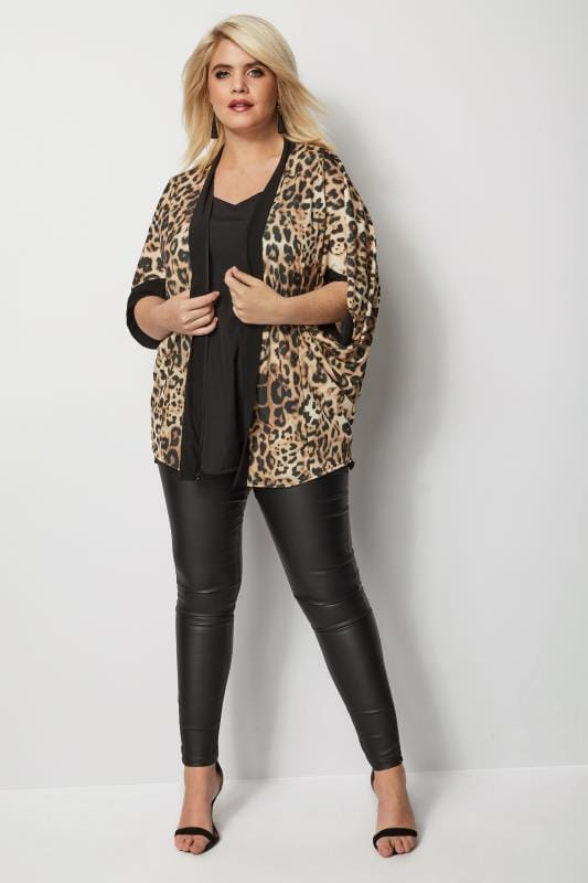 Plus Size Cover Ups Animal Print Cocoon Shrug