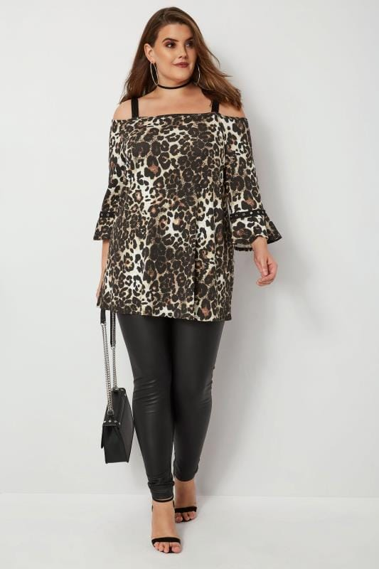 Plus Size Bardot & Cold Shoulder Tops Animal Print Cold Shoulder Top