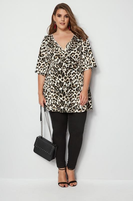 Animal Print Frill Wrap Top