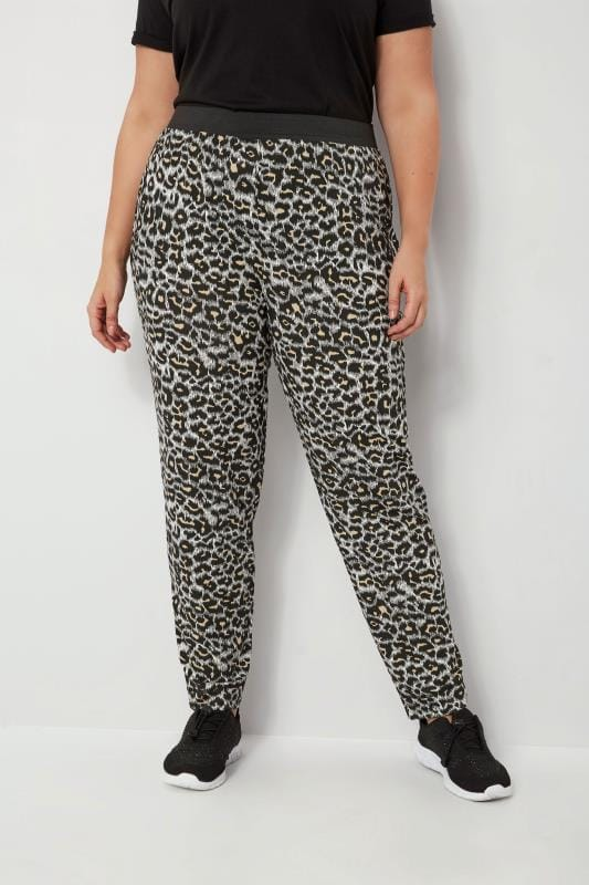 Plus Size Harem Trousers Animal Print Harem Trousers