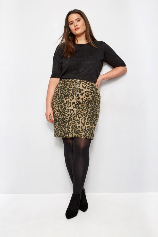 Plus Size Pencil Skirts Animal Print Faux Suede Skirt