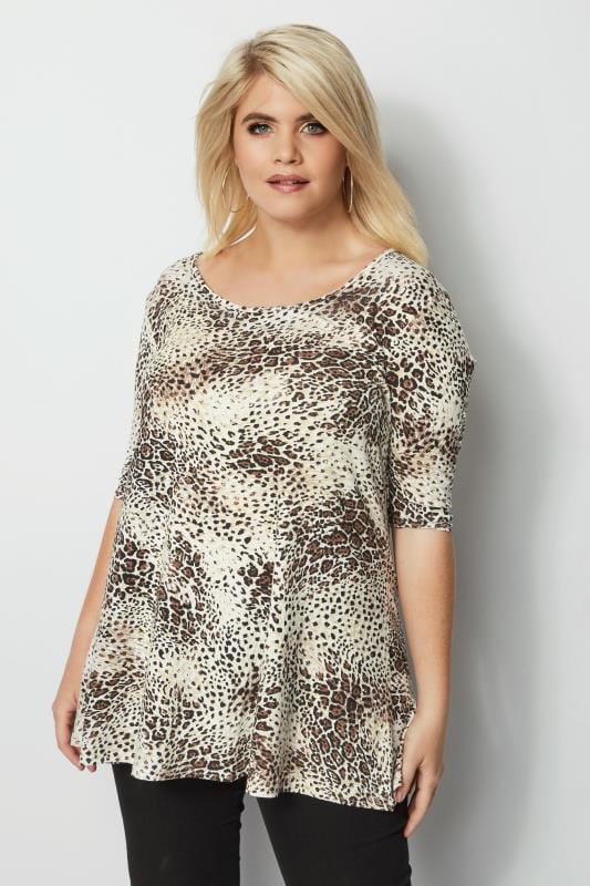 Plus Size Day Tops Animal Print Swing Top