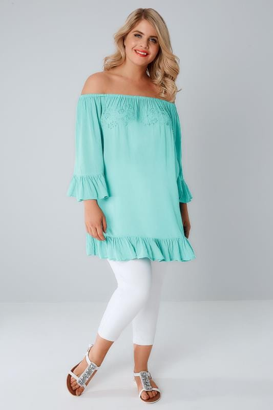 Aqua Blue Bardot Gypsy Top With Beaded Details & Flute Sleeves