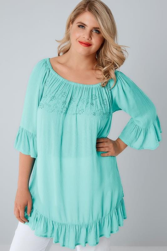 Aqua Blue Beaded Gypsy Top With Flute Sleeves