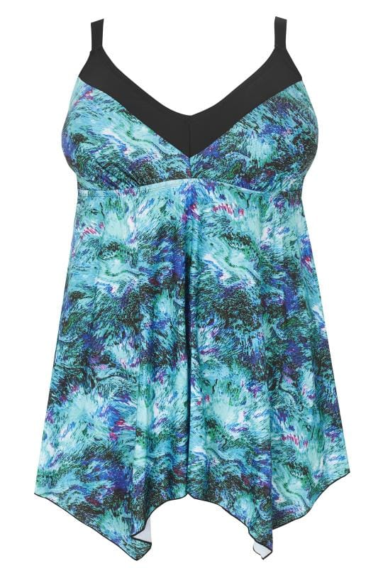Aqua Blue Texture Print Hanky Hem Swim Dress