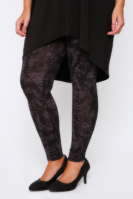 Aubergine Smudge Print Full Length Viscose Elastane Leggings
