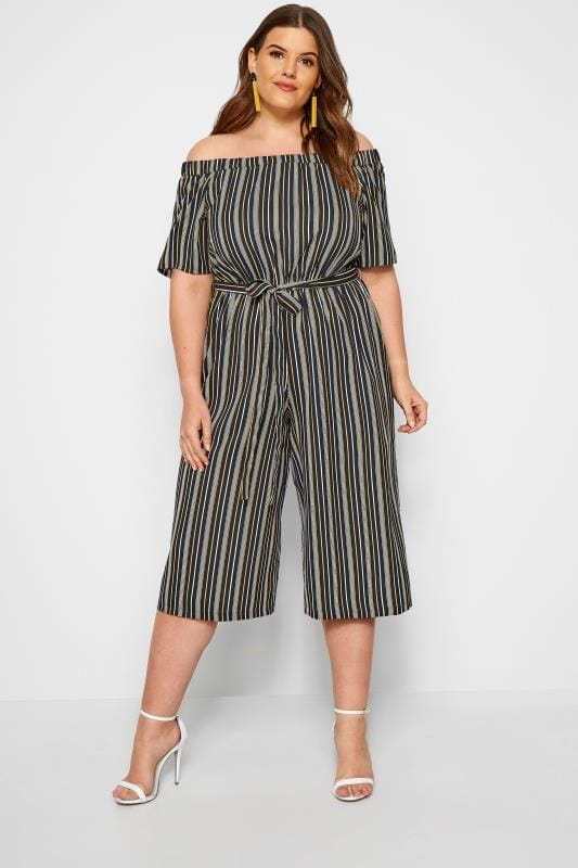 2fef60738d0f Black & Yellow Striped Bardot Culotte Jumpsuit | Sizes 16 to 36 ...