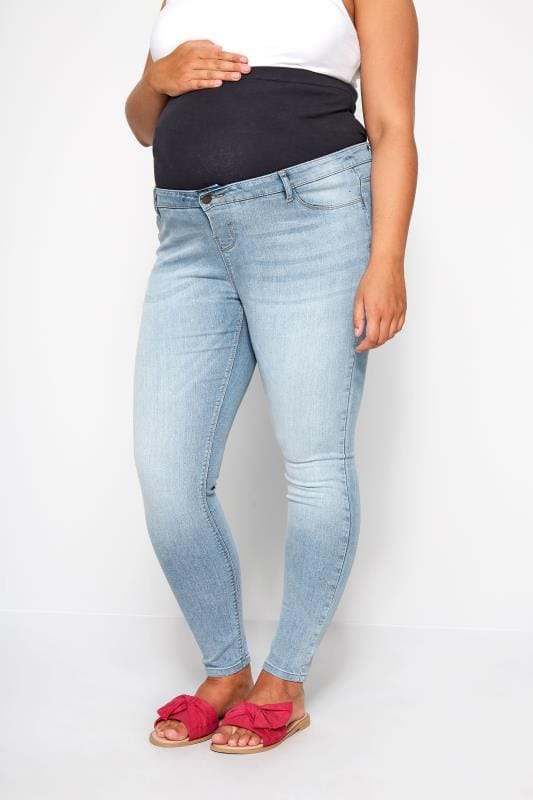 Plus Size Maternity Jeans & Jeggings BUMP IT UP MATERNITY Light Blue Skinny Jeans With Comfort Panel