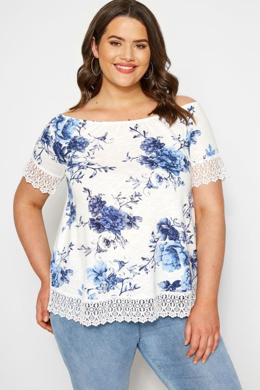 Plus Size T-Shirts White & Blue Floral Lace T-Shirt
