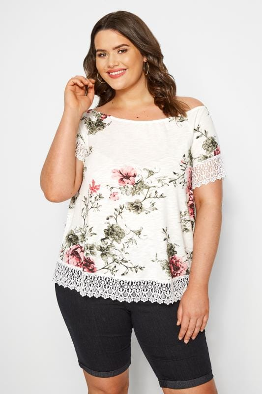 Plus Size T-Shirts White & Pink Floral Lace T-Shirt