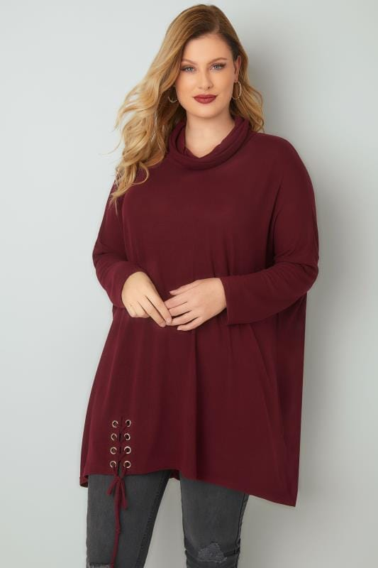 BLUE VANILLA CURVE Berry Red Oversized Jumper With Roll Neck & Lace-Up Hem