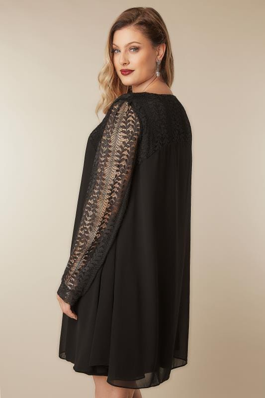 BLUE VANILLA CURVE Black Chiffon Tunic Dress With Lace Yoke & Sleeves