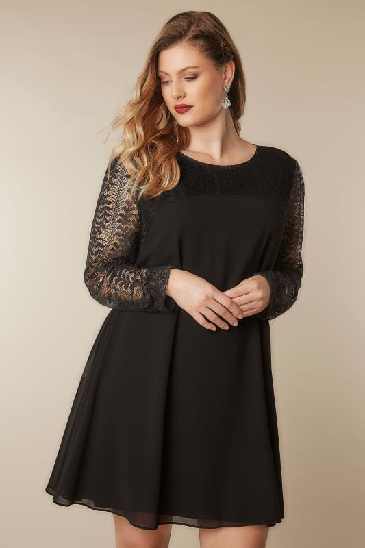 Black Dresses BLUE VANILLA CURVE Black Chiffon Tunic Dress With Lace Yoke & Sleeves 138845