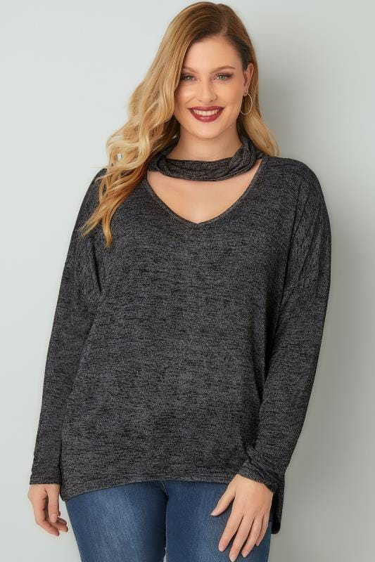 BLUE VANILLA CURVE Black Choker Neck Top With Curved Hem