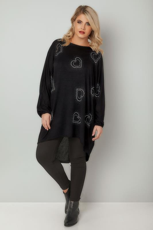 BLUE VANILLA CURVE Black Fine Knit Top With Heart Embellishment & Dipped Hem