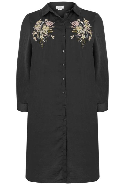 Blue Vanilla Curve Black Floral Embroidered Shirt Dress