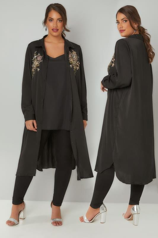 Shirts BLUE VANILLA CURVE Black Floral Embroidered Shirt Dress 138823