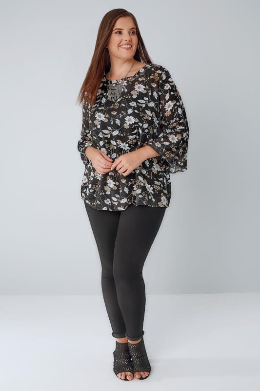 BLUE VANILLA CURVE Black Floral Print Chiffon Top With Flute Sleeves