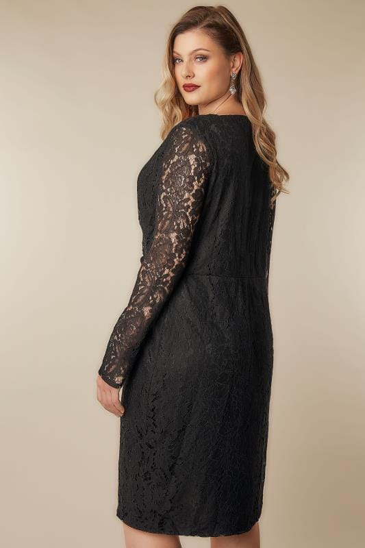 BLUE VANILLA CURVE Black Lace Wrap Dress