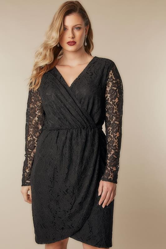 Black Dresses BLUE VANILLA CURVE Black Lace Wrap Dress 138840