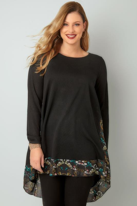 BLUE VANILLA CURVE Black & Multi Fine Knit Swing Top With Floral Chiffon Panels