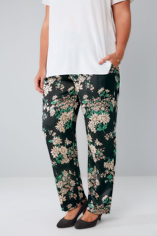 BLUE VANILLA CURVE Black & Multi Floral Print Trousers