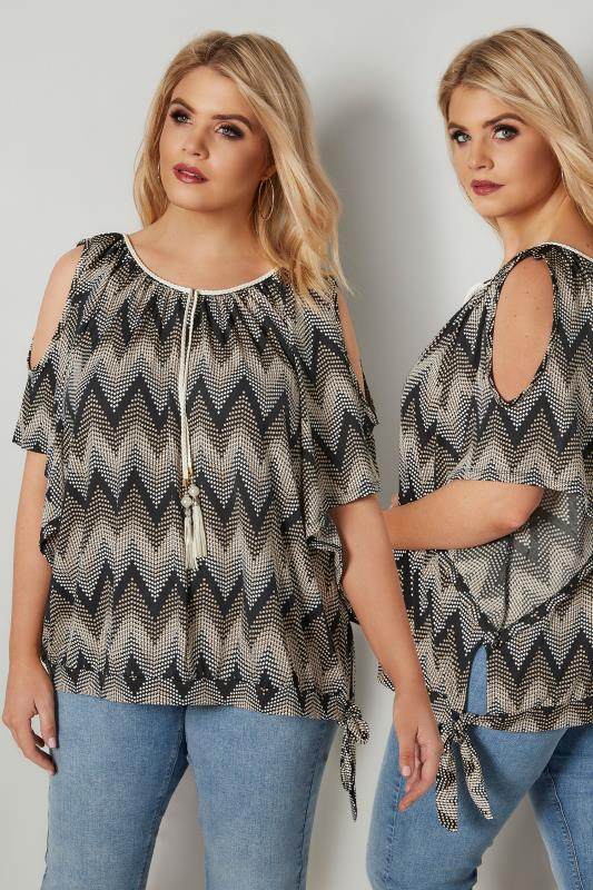 Plus Size Day Tops BLUE VANILLA CURVE Black & Nude Geometric Textured Top With Cold Shoulders & Tie Fastening