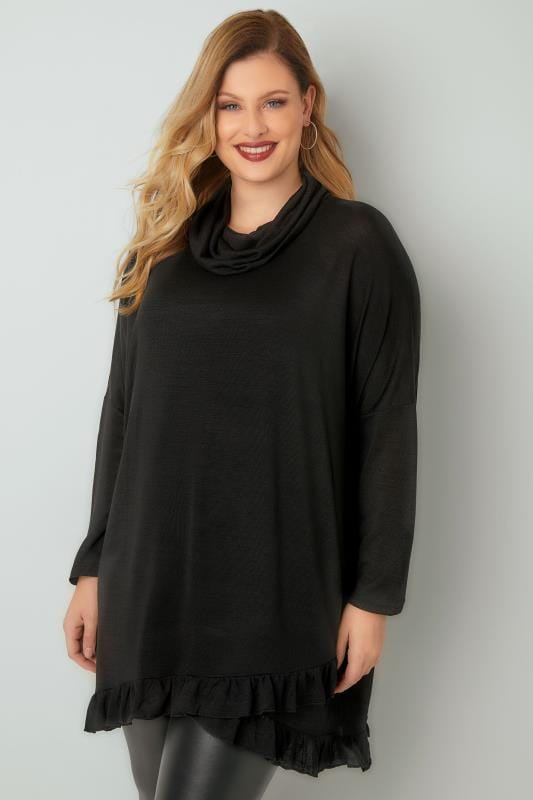 BLUE VANILLA CURVE Black Roll Neck Cape Jumper With Layered Frilled Hem
