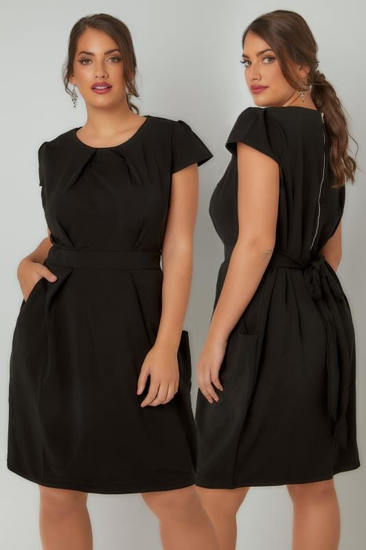 Swing & Shift Dresses BLUE VANILLA CURVE Black Shift Dress With Pockets 138802