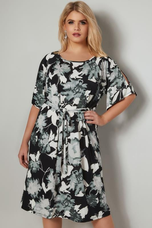 BLUE VANILLA CURVE Black & White Cold Shoulder Shadow Floral Dress With Tie Waist