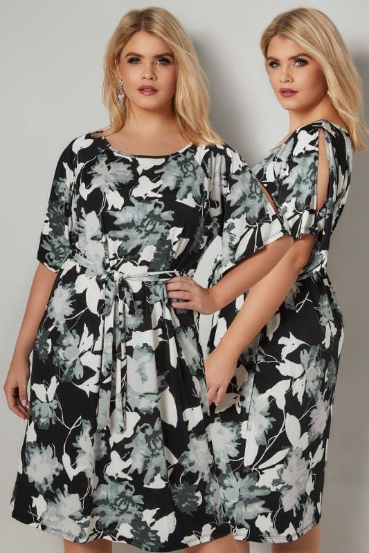 Plus Size Sleeved Dresses BLUE VANILLA CURVE Black & White Cold Shoulder Shadow Floral Dress With Tie Waist